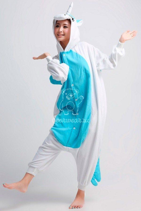 Голубой Единорог кигуруми пижама