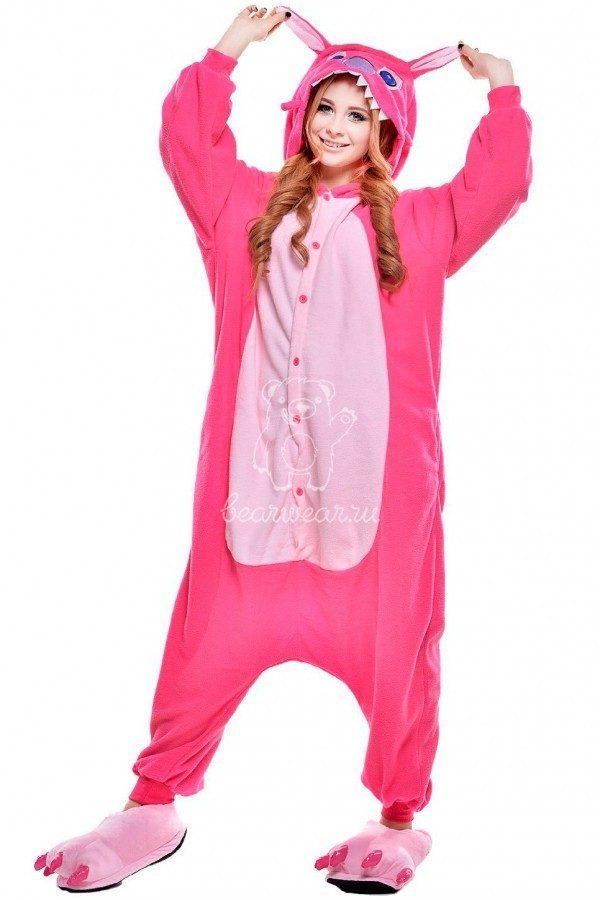 Пижама кигуруми розовый Стич