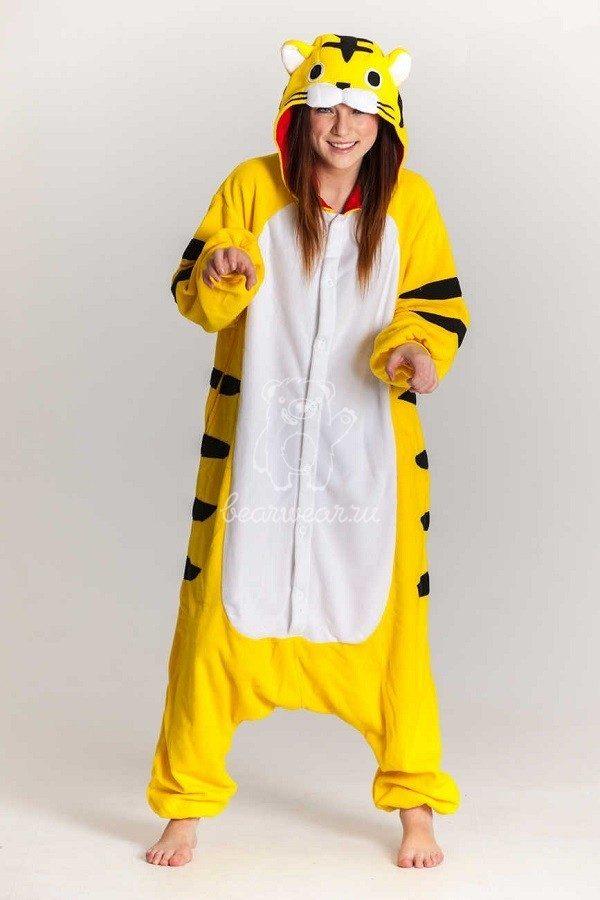 Желтый тигр кигуруми пижама