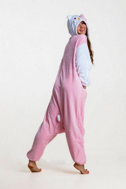 Купить пижаму кигуруми Белая с Розовая кошка котенок в СПБ