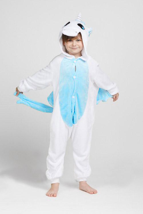 Детский костюм пижама кигуруми голубой единорог для мальчика и девочки купить
