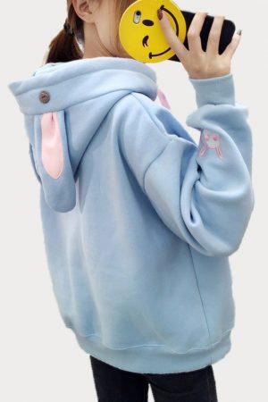 Купить Худи - Свитшот с Капюшоном и Ушками Голубой Кролик в СПб