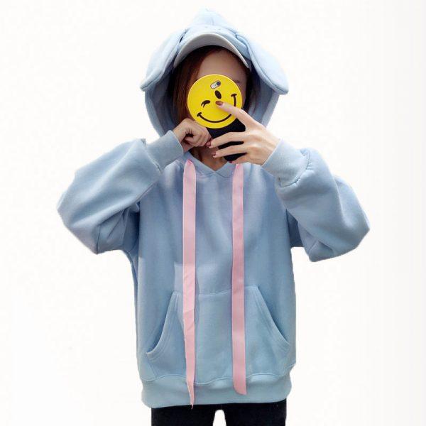 Купить Худи - Свитшот с Капюшоном и Ушками в виде голубого кролика