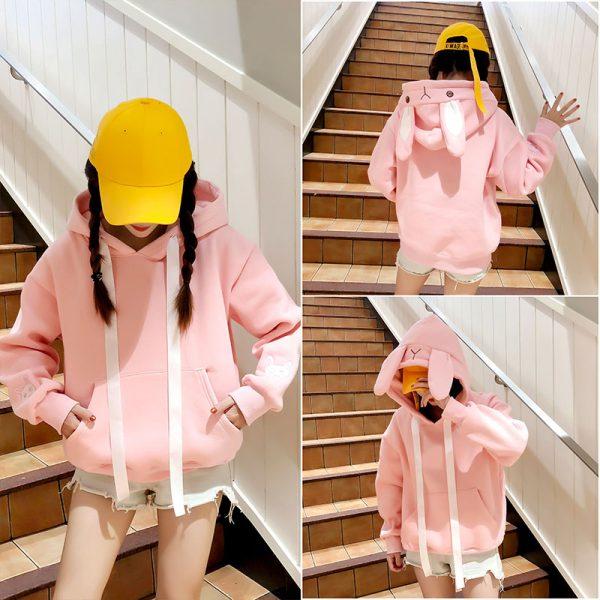 Свитшот худи с Ушами на капюшоне в виде розового зайца / кролика