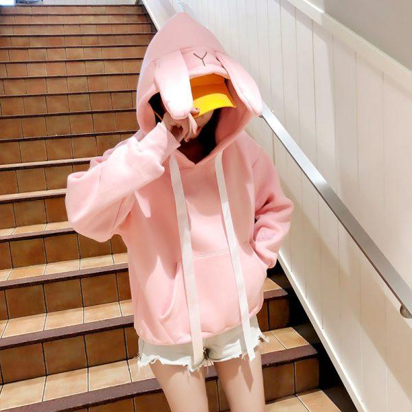 Купить Толстовку кенгуруху с Капюшоном и Ушками в виде розового зайца