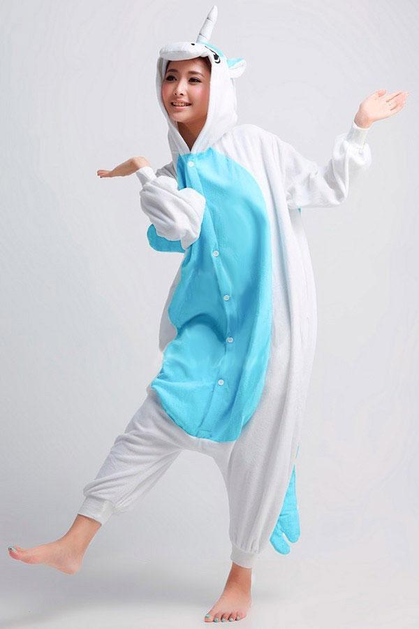 Купить пижаму кигуруми голубой единорог с крыльями в спб