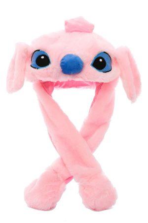 Купить шапку Стич розовый с двигающимися ушами СПб