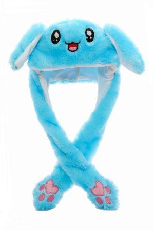 Купить Шапку с Двигающимися Ушами - Голубой Заяц / Кролик светящийся