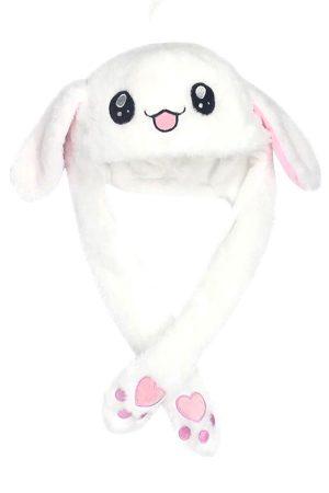 Купить Шапку с двигающимися ушами белый заяц