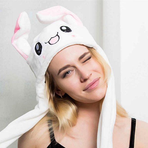 Купить шапку с двигающимися шевелящимися ушками в виде белого зайца кролика