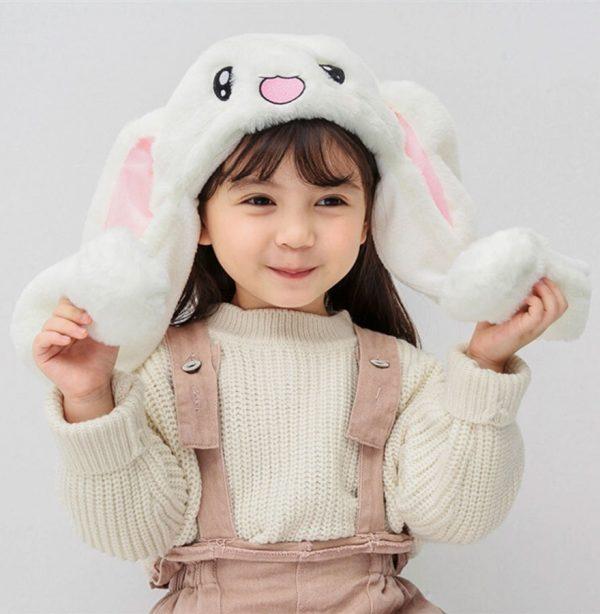 Купить шапку с поднимающимися светящимися ушами в виде белого зайца кролика