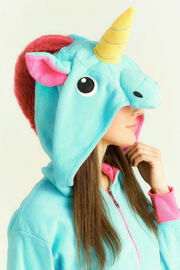 Купить куртку толстовку в виде Бирюзового голубого Единорога для девочки