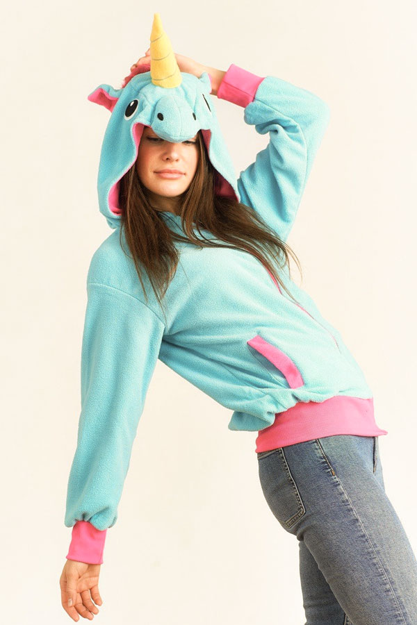 Куртка Свитшот худи для девушки в виде единорога с ушками