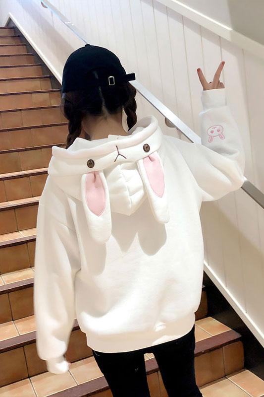Купить Толстовку кенгуруху с Капюшоном и Ушками в виде белого зайца