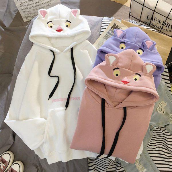Белая кофта кенгуруха с капюшоном в виде пантеры розовой