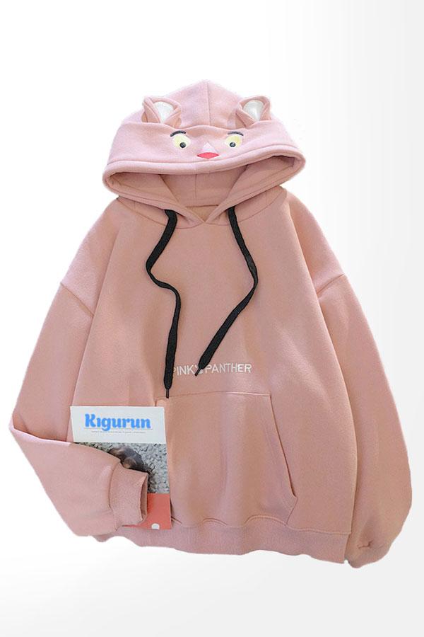 Купить Розовое Худи с Капюшоном и Ушками Белая Розовая Пантера