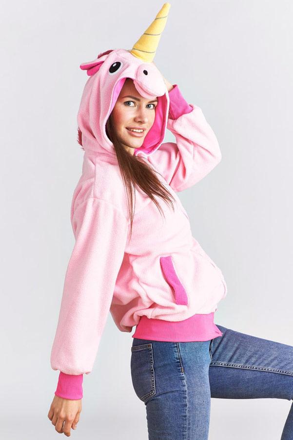 Розовая Куртка Свитшот худи для девушки в виде единорога с ушками