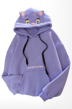 Фиолетовое Худи с Капюшоном и Ушками Пантера Купить СПб