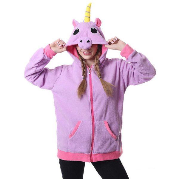 Купить куртку толстовку в виде Сиреневого фиолетового Единорога для девочки девушки