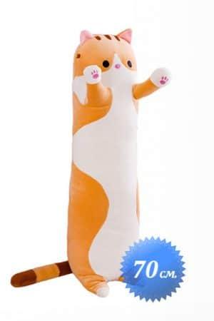 Мягкая Игрушка Длинный Кот Рыжий 70 см. - Купить Длинную Подушку Обнимашку Кот Багет Батон