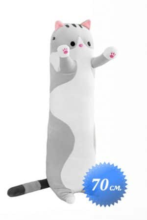 Мягкая Игрушка Длинный Кот Серый 70 см. - Купить Длинную Подушку Обнимашку
