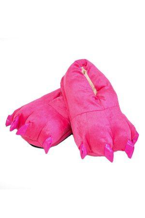 Домашние ярко-розовые тапочки кигуруми с когтями недорого купить в СПб детские взрослые фуксия